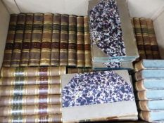 VARIOUS SETS OF UNIFORM LEATHER BOUND BOOKS.