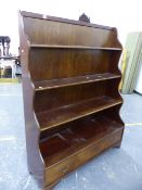 AN ANTIQUE STYLE MAHOGANY WATERFALL BOOKCASE WITH DEEP DRAWER TO BASE, W 122 X D 39 X H 158cms.