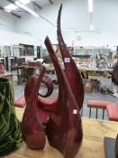 A THREE PART RUSSET SCULPTURE, SIGNED PARLANE.