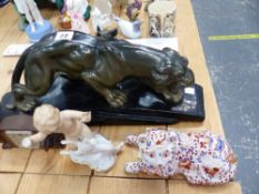 ART DECO FIGURE OF A TIGER SIGNED PAQLIAI, TOGETHER WITH A SPELTER ALSATIAN FIGURE, A SMALL DESK