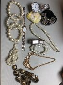COSTUME BEADS AND WATCHES ETC TO INCLUDE PULSAR, CITRON, AND LDADPR.