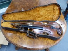AN ANTIQUE VIOLIN BEARING THE LABEL NICOLAUS AMATUS, FOR RESTORATION.