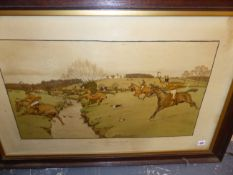 "AFTER CECIL ALDIN ""THE COTTESBROOK HUNT"" VINTAGE COLOUR PRINT 52 X 82cms. TOGETHER WITH A PENCIL"