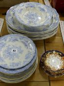 A QUANTITY OF BLUE AND WHITE WARES, ASIATIC PHEASANTS PATTERN TOGETHER WITH A SMALL SELECTION OF