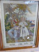 AN ANTIQUE NEEDLEPOINT PANEL, UNCLE TOM AND EVA, IN A MAPLE FRAME. 48 X 36