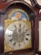 A 19th C. MAHOGANY AND INLAID LONG CASE CLOCK WITH 8 DAY SILVERED AND BRASS DIAL WITH MOON PHASE,