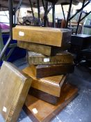 EIGHT VARIOUS WOODEN DISPLAY PLINTHS.
