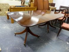 A BESPOKE QUALITY GEORGIAN STYLE TWIN PILLAR DINING TABLE WITH CENTRAL LEAF, EACH QUADRUPED PEDESTAL
