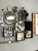 A COLLECTION OF WATCHES, JEWELLERY, HALLMARKED SILVER ETC TO INCLUDE A 9ct GOLD HEAD ONLY TUDOR