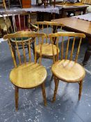 FOUR SIMILAR WELSH COMB BACK PENNY SEAT KITCHEN CHAIRS TO INCLUDE ONE ARMCHAIR.
