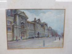 EARLY 20th.C. ENGLISH SCHOOL. A CITY STREET VIEW. WATERCOLOUR, SIGNED INDISTINCTLY. 18 x 25.5cms.