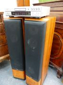 A DENON DVD PLAYER, TOGETHER WITH A PAIR OF JAMO FLOOR SPEAKERS.
