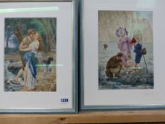 19th/20th.C. ENGLISH SCHOOL. THE ROCKPOOL AND A STOLEN KISS. INITIALLED G.O.M., TWO WATERCOLOURS.