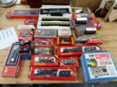A QUANTITY OF HORNBY LOCOMOTIVES AND STOCK, A CONTROL UNIT, TWO BOXED LIMA PIECES ETC.