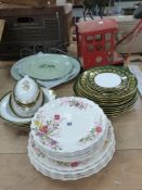 COPELAND SPODE PATTERN FAIRY DELL DINNER AND SIDE PLATES, TOGETHER WITH SPODE GREEN AND GOLD LEAF