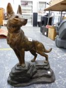 A LARGE SPELTER FIGURE OF AN ALSATIAN, SIGNED L. CARVIN.