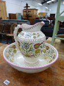A LATE VICTORIAN AESTHETIC WASH JUG AND BASIN.