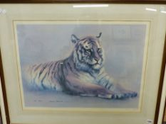 SPENCER ROBERTS (1920-1997). ARR. RED TIGER. PENCIL SIGNED LIMITED EDITION COLOUR PRINT. 55 x