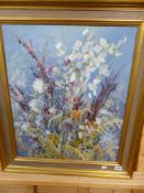 MARGARET SEATON (1917-2003). ARR. AUTUMN FLOWERS. OIL ON CANVAS, SIGNED. 62 x 51cms.