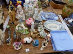 VARIOUS BESWICK BIRD FIGURINES, TWO RETRO CAT FIGURES, A MURANO TYPE GLASS CLOWN, OTHER ORNAMENT,