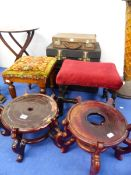 TWO ORIENTAL LARGE VASE STANDS, THREE ATTACHÉ CASES, TWO STOOLS AND A FOLDING SMALL TABLE.