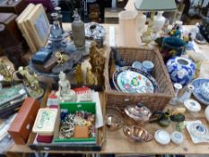 A SMALL LEAD BIRD BATH OF SHELL FORM, MISC. COINS AND COSTUME JEWELLERY, ORIENTAL STYLE CHINA WARES,