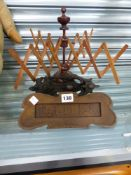 A VINTAGE TREEN WOOL WINDER, A DOOR KNOCKER AND A LETTER BOX.