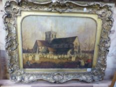 19th.C. ENGLISH NAIVE SCHOOL. THE CHURCHYARD. INDISTINCTLY INITIALLED, OIL ON BOARD. 35 x 61.5cms.