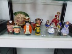 A ROYAL DOULTON FIGURINE IVY, ANOTHER TOP OF THE HILL, VARIOUS CHARACTER JUGS AND OTHER FIGURINES.