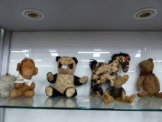 SEVEN INTERESTING VINTAGE TOY ANIMALS TO INCLUDE A SMALL BLUE PLUSH BEAR, A RABBIT, TWO CHIMPANZEES,
