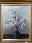 MARY BROWN (20th/21st.C.). SPRING BLOSSOM. OIL ON CANVAS, SIGNED, GALLERY LABEL VERSO. 51 x 41cms.