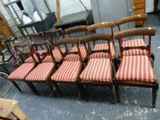 A SET OF SIX WILLIAM IV ROSEWOOD DINING CHAIRS WITH CANE SEATS, AND SQUAB CUSHIONS, TOGETHER WITH