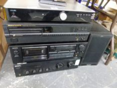 VARIOUS STACKING STEREO COMPONENTS TO INCLUDE SONY, MARANTZ, AIWA, AND ACOUSTIC SOLUTIONS.