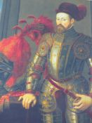 A LARGE DECORATIVE PORTRAIT ON CANVAS OF A MEDIEVAL GENTLEMAN IN ARMOUR 90 X110CM