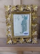 A SMALL ANTIQUE CARVED FLORENTINE GILT FRAME TOGETHER WITH VARIOUS ANTIQUE AND LATER PRINTS, SIZES