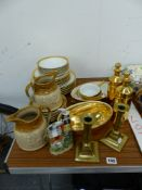 A SMALL COLLECTION OF WORCESTER GILT DECORATED DINNER WARES, A STAFFORSHIRE SMALL FIGURINE ETC.