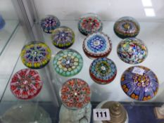 12 VARIOUS GLASS PAPERWEIGHTS.