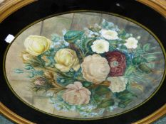 FOUR 19TH C NEEDLEWORK FRAMED PANELS, A LARGE OVAL FLORAL WATERCOLOUR AND TWO FLOWER PICTURES.