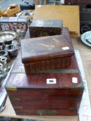 A BRASS BOUND WRITING SLOPE, AN EASTERN TOBACCO / TEA CADDY, AND A SEWING BOX AND A WOODED VINTAGE