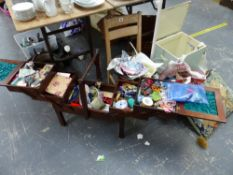 A VINTAGE SEWING BOX AND CONTENTS, A TAPESTRY TYPE CUSHION, SMALL BOOKCASE, CHILDS CHAIR, A RETRO