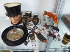 TWO VINTAGE CHATELAINE HEM LIFTERS, THREE DOULTON CHARACTER JUGS, A POT LID, A GERMAN FOX
