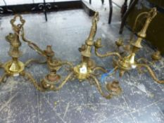 THREE BRASS FIVE BRANCH CHANDELIER.