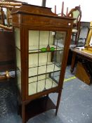 AN EDWARDIAN MAHOGANY INLAID DISPLAY CABINET WITH LEAD GLASS DOOR. W 57 X D 32 X H 147.