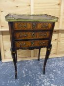 A 19th C. MAHOGANY CHEST OF THREE DRAWERS, THE BRASS GALLERIED TOP AROUND LEATHER INSET, THE