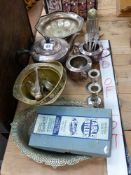 A QUANTITY OF SILVER PLATED WARE TO INCLUDE A PAIR OF SMALL CANDLE STICKS, CRUETS, FORKS, CASED