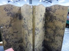 AN ANTIQUE FOUR FOLD SCREEN WITH BRUSSELS TAPESTRY PANELS.