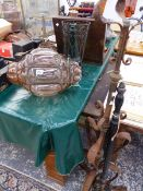 TWO BUBBLE GLASS AND WROUGHT IRON LIGHT SHADES, A WROUGHT IRON STANDARD LAMP, AND A WARMING PAN.