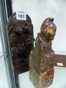 TWO ORIENTAL CARVED STONE FIGURES.