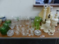 TWO 19th C. SALTS, OTHER VARIOUS GLASS WARES, TABLE LAMPS ETC.