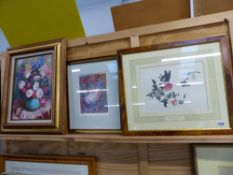FOUR DECORATIVE FLOWER AND BUTTERFLY PRINTS, TOGETHER WITH A CONTEMPORARY PAINTING OF A FLORAL STILL
